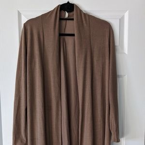 CHOCOLATE BROWN OPEN FRONT LONG CARDIGAN